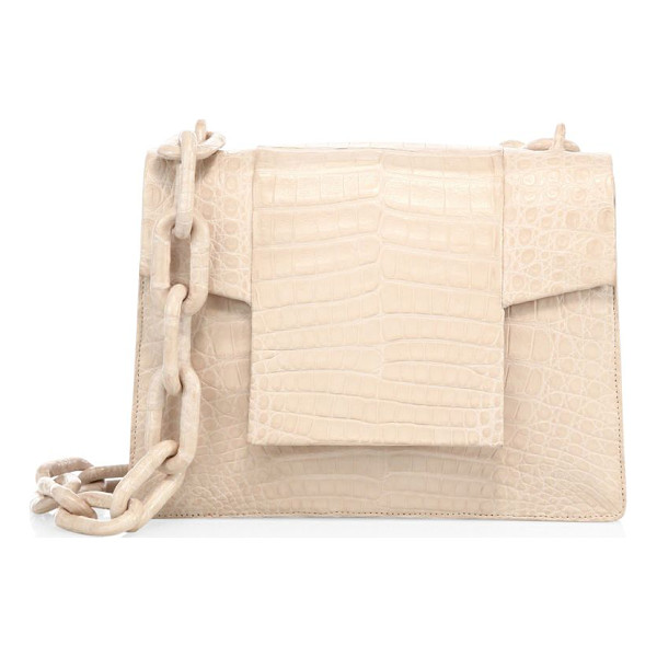 NANCY GONZALEZ medium crocodile chain flap shoulder bag - Structured crocodile shoulder bag with cutout flap.