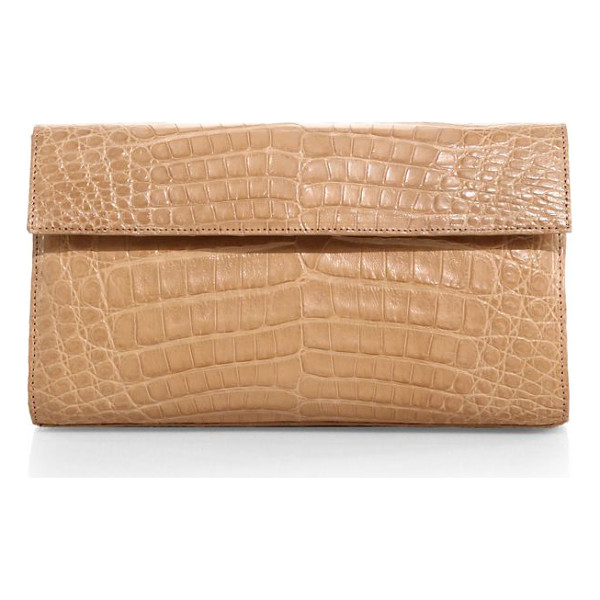 NANCY GONZALEZ small crocodile flap clutch - Sleek silhouette of richly textured crocodile. Magnetic...