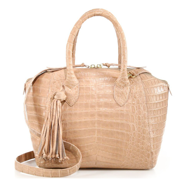 NANCY GONZALEZ Small tasseled crocodile satchel - A round, structured shape crafted of luxe crocodile and...