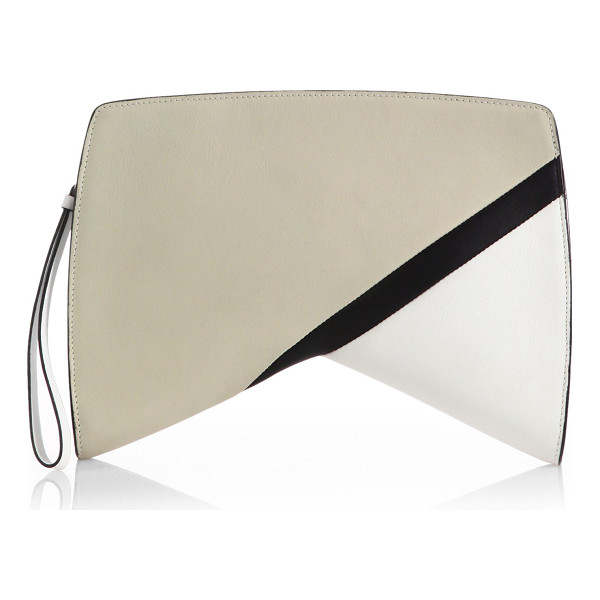"""NARCISO RODRIGUEZ Colorblock boomerang clutch - A geometric """"boomerang"""" silhouette lends a funky edge to..."""
