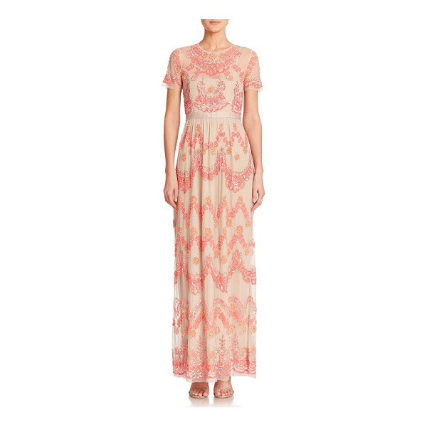 NEEDLE & THREAD Beaded-tier maxi dress - A sheer overlay featuring tiers of intricate beading...