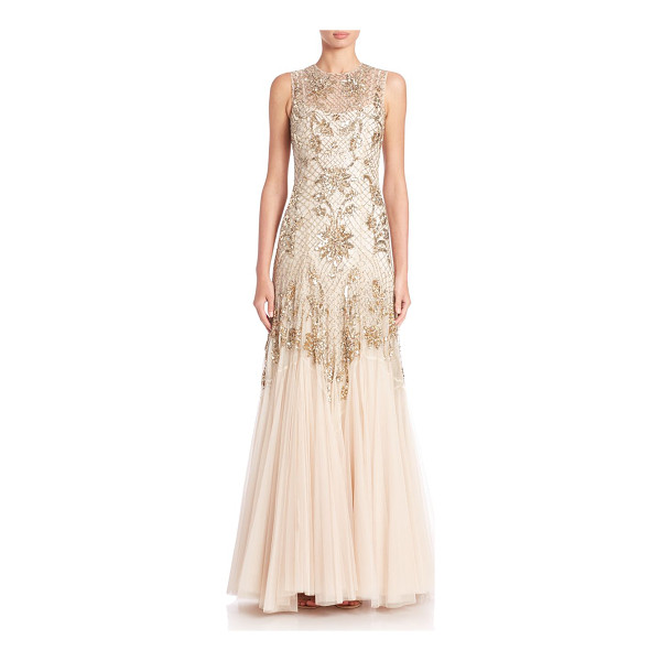 NEEDLE & THREAD Beaded tulle gown - A latticework of shimmering beads and sequins embellishes...