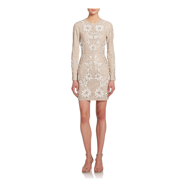 NEEDLE & THREAD Embellished floral mesh dress - A closely fitted, long-sleeved georgette dress shimmers at...