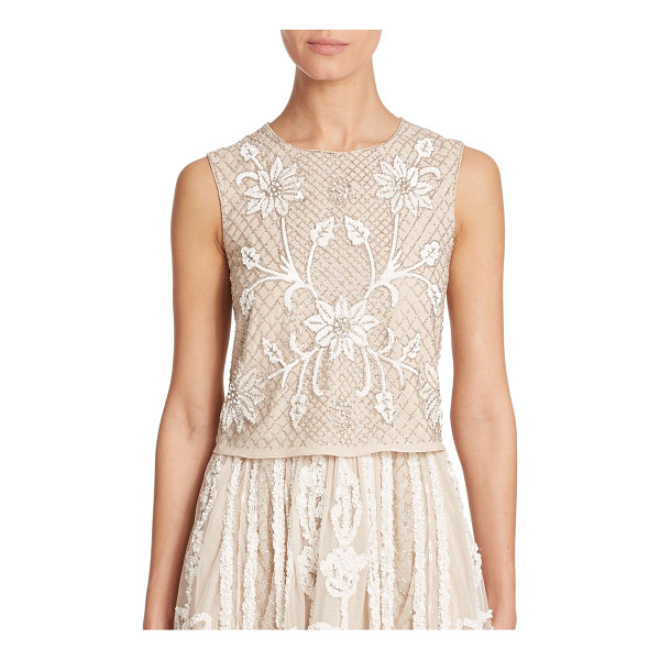 NEEDLE & THREAD Floral-mesh top - Sequin flowers blossom upon a background of shimmering seed...