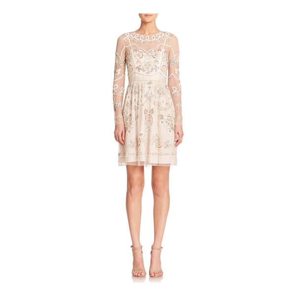 NEEDLE & THREAD Sequined semi-sheer long-sleeve dress - Sheer detailing and lustrous, sequined embroidery enhance...