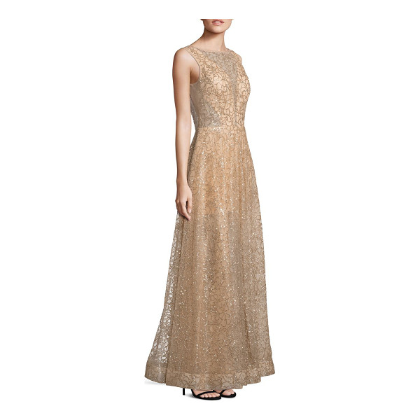 NERO BY JATIN VARMA sequin a-line gown - Sparkling sequin gown in elegant floral motif. Illusion...