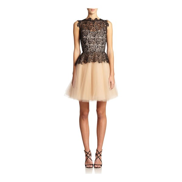 NHA KHANH karla peplum lace & tulle dress - Crafted in hand-cut lace and layered tulle, this peplum...