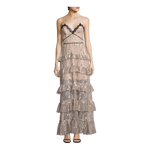 NICHOLAS iris lace ruffled gown - Gorgeous lace and ruffled tiers charm this gown. Sweetheart...