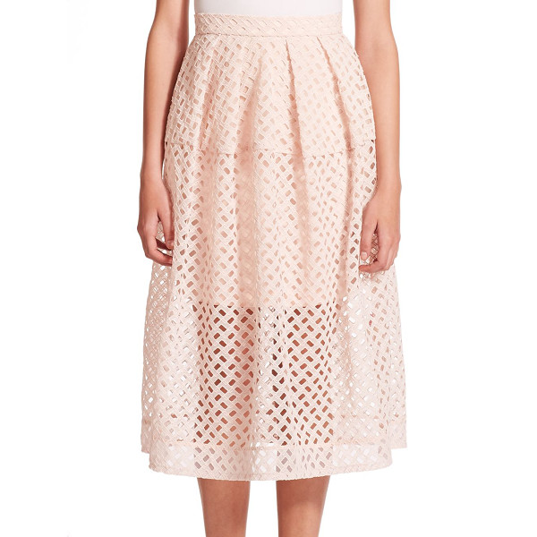 NICHOLAS Lattice woven skirt - In a geometric take on the classic lace skirt, this cutout...