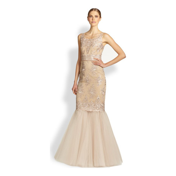 NOTTE BY MARCHESA Re-embroidered lace & tulle mermaid gown - A romantic style for evening in beautifully re-embroidered...