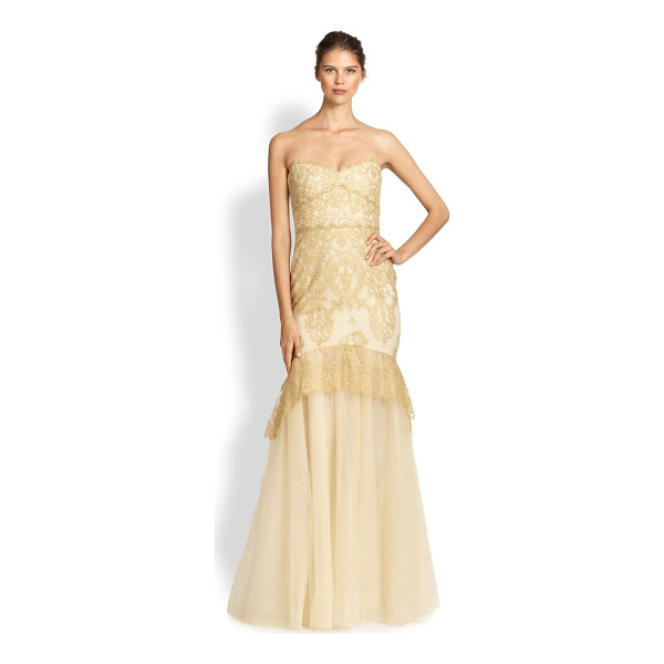 NOTTE BY MARCHESA Strapless metallic lace gown - This flattering mermaid silhouette is crafted from airy...