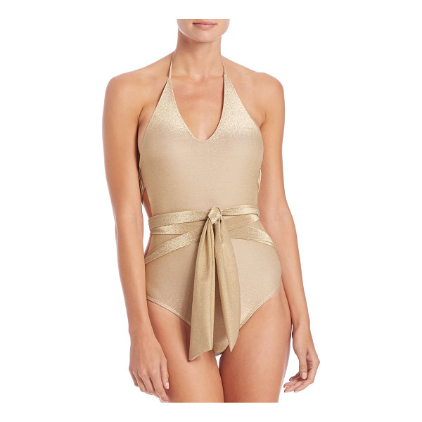 ONDADEMAR one-piece wrap swimsuit - Metallic one-piece elevated with wrap design. Halter straps...