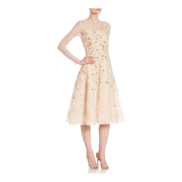 OSCAR DE LA RENTA embellished lace cocktail dress - Floral lace dress elevated by lavish metallic...