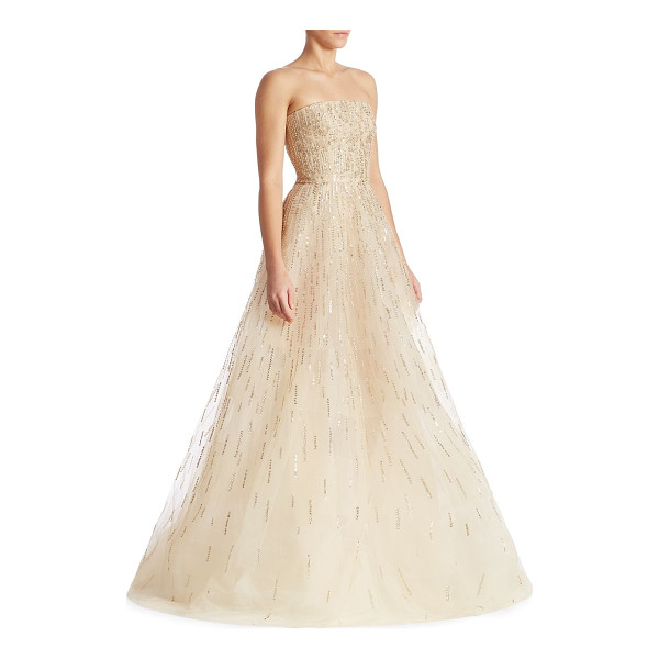 OSCAR DE LA RENTA sequin embellished gown - Radiant sequins enhance this gorgeous strapless design....