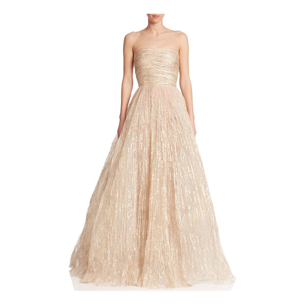 OSCAR DE LA RENTA Strapless foil tulle gown - Painterly foil embellishment adds a hint of shimmer to this...