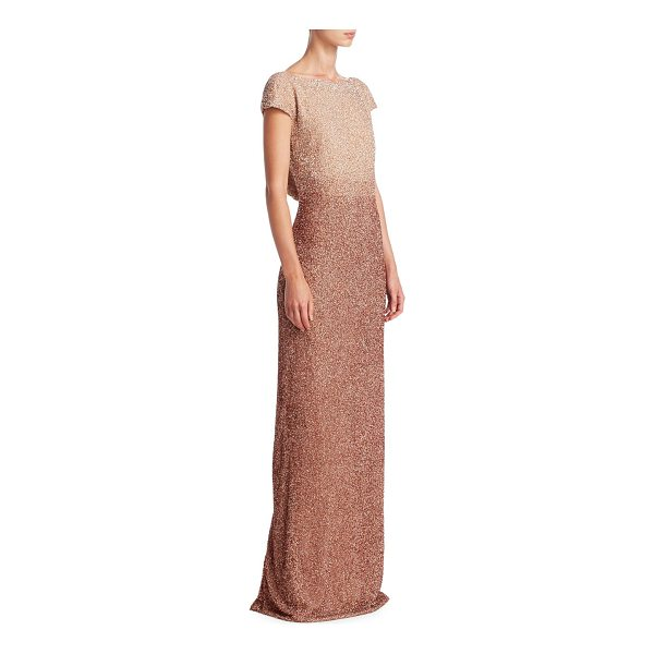 PAMELLA ROLAND beaded silk gown - Glistening beaded cowl back gown in luxe silk. Boatneck....