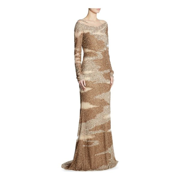 PAMELLA ROLAND brushstroke sequin-embroidered gown - Sequin-embroidered illusion gown with brushstroke motif....