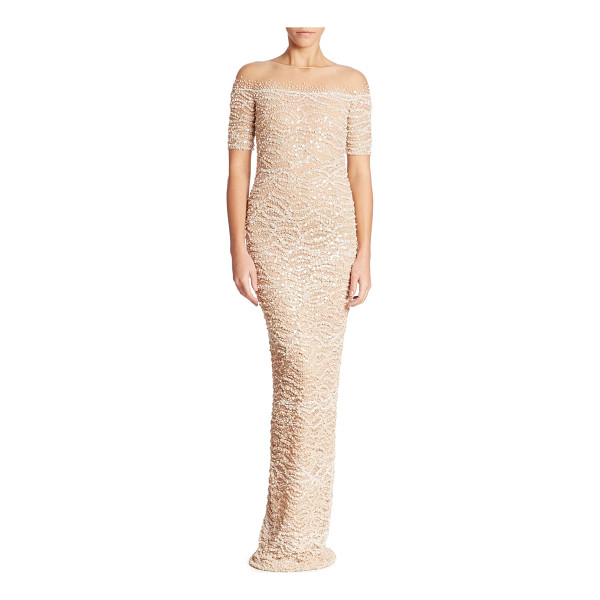 PAMELLA ROLAND embellished lace gown - Glistening sequins enhance this beautiful lace gown....