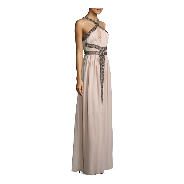 PARKER BLACK kathy beaded halter gown - Grecian-inspired pleated gown with shimmering beading....