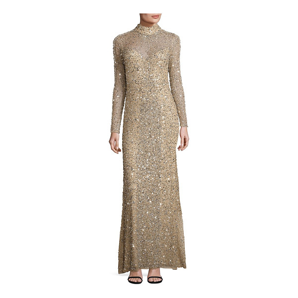 PARKER BLACK leandra sequin gown - Allover glimmering sequins uplift this lace gown. Mockneck....