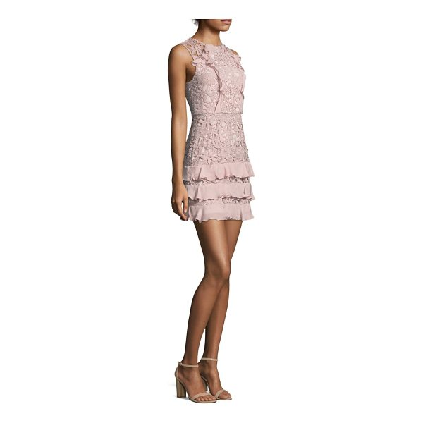 PARKER zahara combo lace mini dress - Finished with ruffled details at front and skirt. Crewneck....