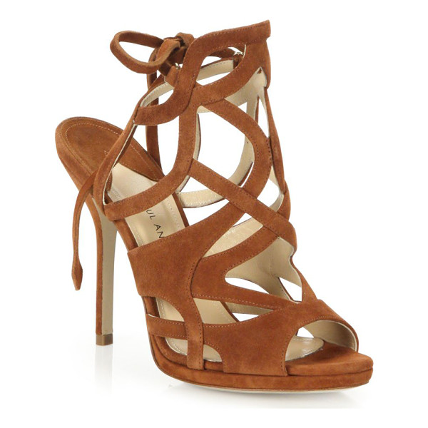 PAUL ANDREW ella cutout suede tie-back sandals - Intricately cutout suede sandal with back ankle ties....