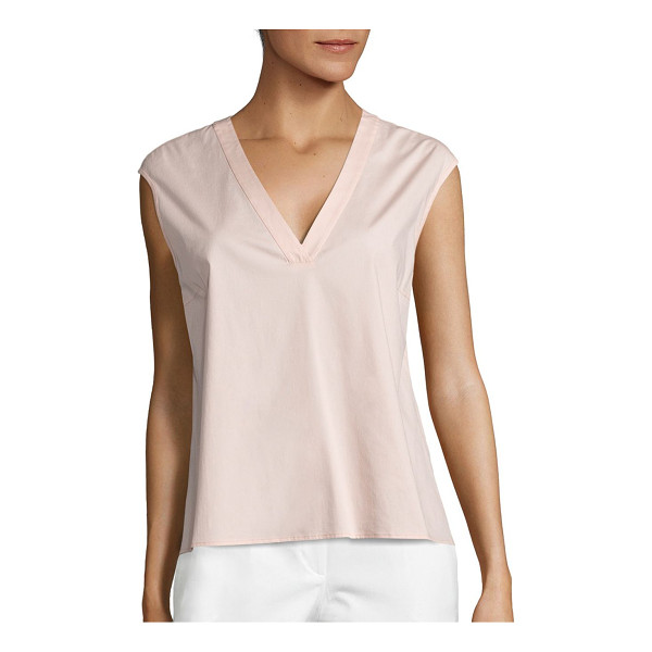 PESERICO sleeveless v-neck blouse - Elegant top fabricated from sumptuous cotton blend.V-neck....