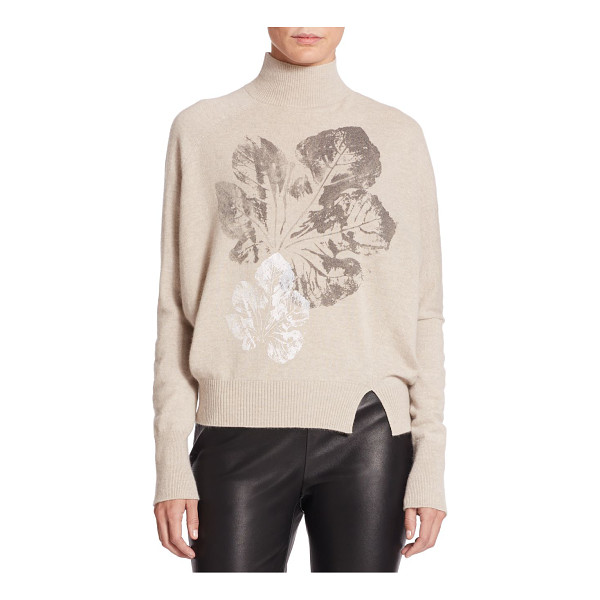 PIAZZA SEMPIONE Leaf-print wool/angora turtleneck sweater - A tonal leaf print accents the center of a sweater in...