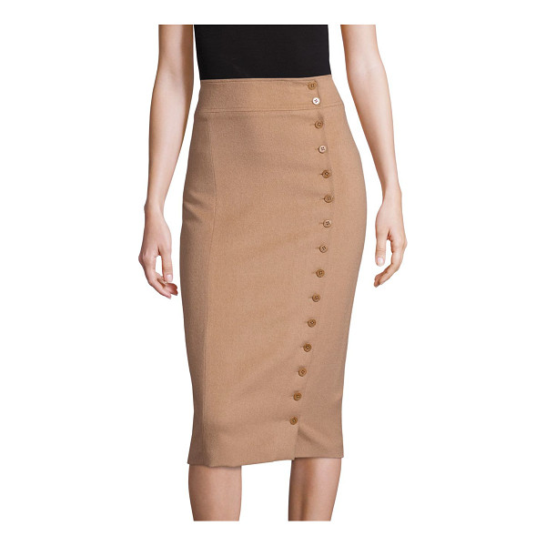 POLO RALPH LAUREN camel-hair button-front pencil skirt - Buttons run down the front left of this luxe pencil skirt,...