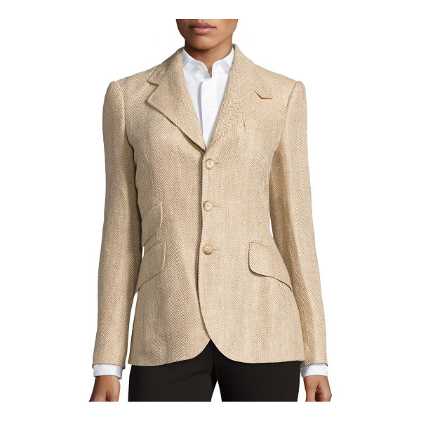 POLO RALPH LAUREN linen herringbone hacking blazer - Taking its cues from classic hacking silhouettes, this...
