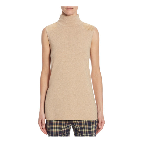 POLO RALPH LAUREN mockneck sweater - Sporty chic sweater with shoulder patches. Mockneck....