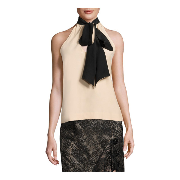 PRABAL GURUNG tie neck silk top - Lavish silk top with tie neck detail. Halterneck....