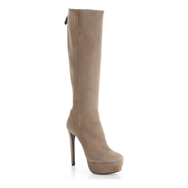 PRADA Back zip suede platform boots - Sumptuous suede from Italy shapes this streamlined boot,...