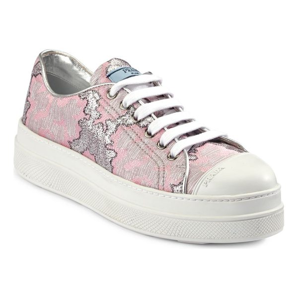 PRADA brocade platform sneakers - Kick your casual style with this round toe sneakers....