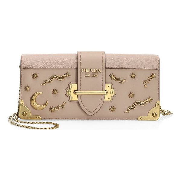 PRADA cahier pochette leather crossbody - EXCLUSIVELY AT SAKS FIFTH AVENUE. Removable chain strap....