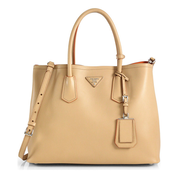 PRADA City calf medium double bag - Crafted from smooth calf leather, this two-compartment bag...