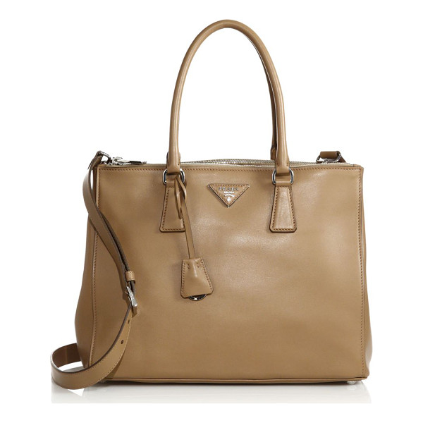 PRADA city calf medium double-zip tote - Timeless structured design in smooth, buttery leather....
