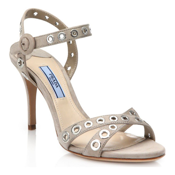 PRADA Grommeted strappy suede sandals - Edgy metal grommets polish strappy suede sandalSelf-covered...