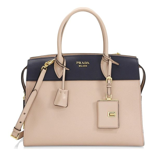 PRADA esplanade medium leather tote - Structured tote of mixed saffiano and leather construction....