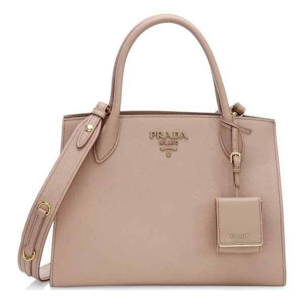 PRADA large saffiano monocrome tote - Large leather tote embellished with timeless logo. Double...