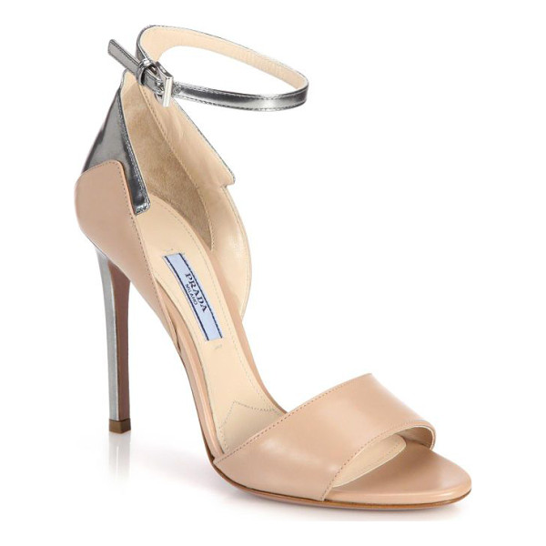 PRADA Metallic-trimmed leather sandals - Sophisticated sandals are especially chic with a modern...