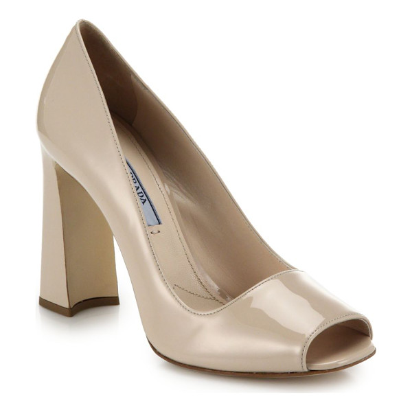 PRADA Open-toe block-heeled pumps - Classic, glossy leather pumps with a chic block heel and an...