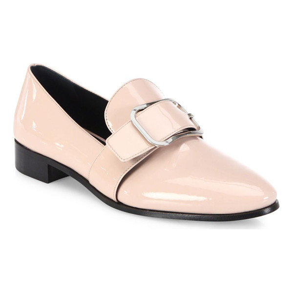 PRADA patent leather buckle loafers - Buckled strap revamps classic loafer in glossy patent....