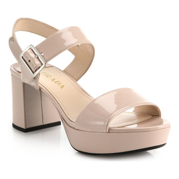 PRADA Patent leather sandals - Chunky block-heeled sandals with platform, crafted from...