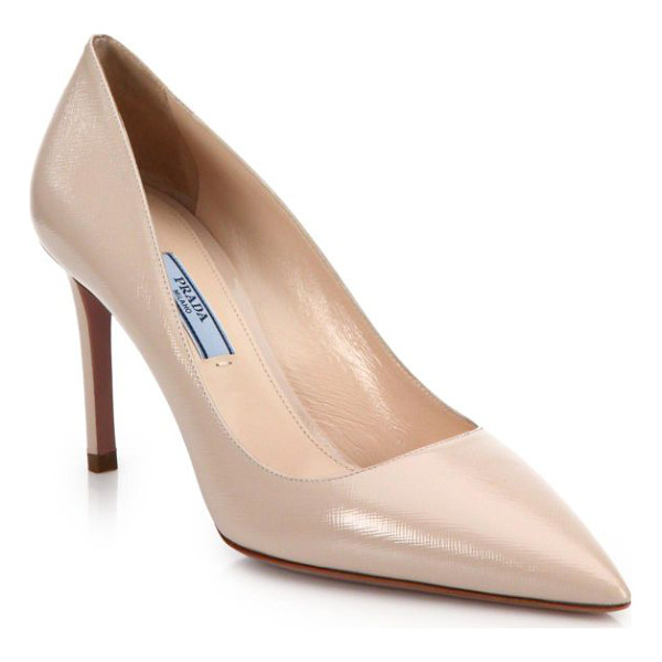 PRADA Patent saffiano leather point-toe pumps - The essential point-toe pump is cast in saffiano leather...