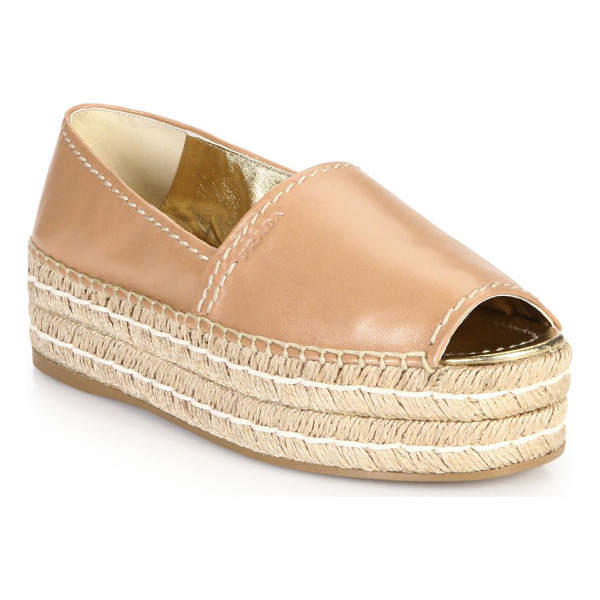 PRADA Platform open-toe leather espadrilles - A modern approach to classic, casual espadrilles, crafted...