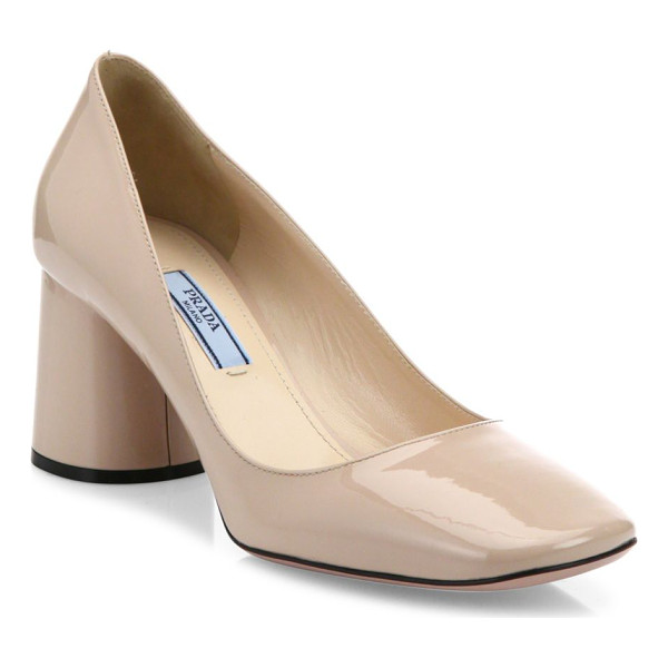 PRADA round block heel patent leather pumps - High-shine patent pump set on cylindrical block heel.