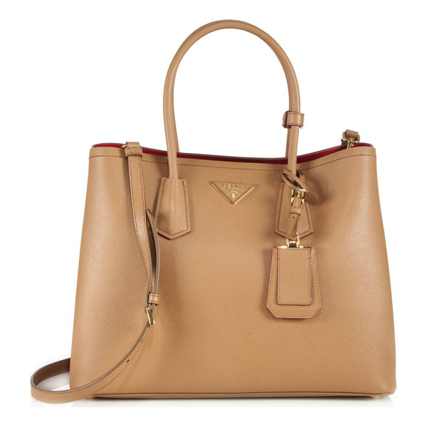 PRADA saffiano cuir large double bag - Impeccably crafted of Saffiano calfskin with a...