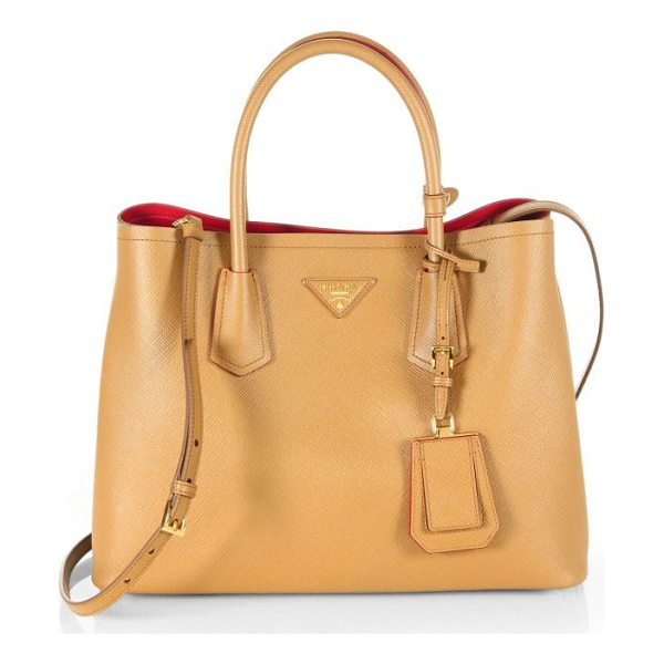 PRADA saffiano cuir small double bag - Crafted from rich Saffiano calf leather and designed with a...
