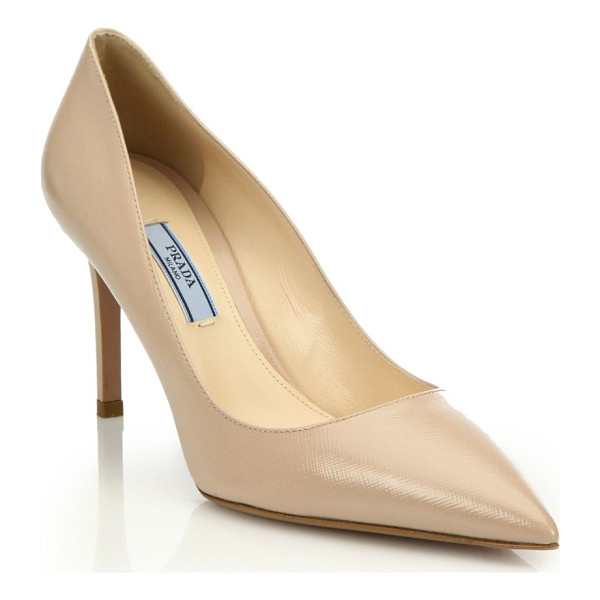 PRADA saffiano leather point toe pumps - Saffiano leather enhances sophisticated point-toe pump.